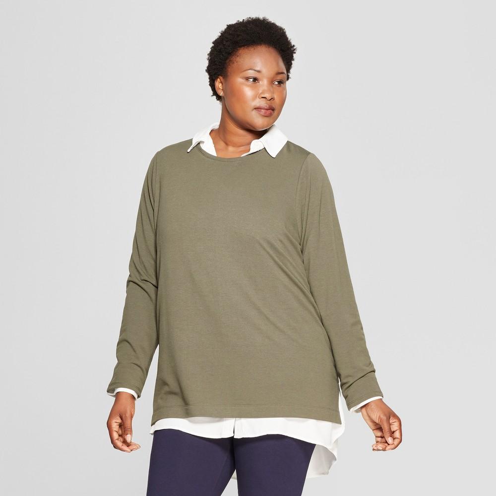 Women's Plus Size Long Sleeve Crew Neck T-Shirt - Ava & Viv Olive (Green) 2X