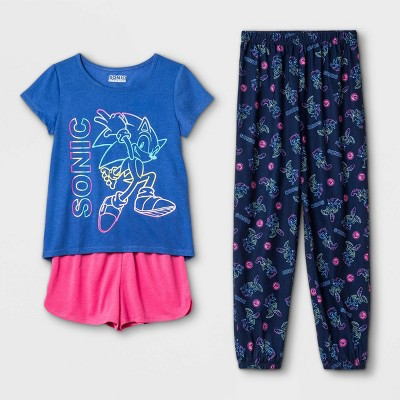 Girls' Sonic the Hedgehog 3pc Pajama Set - Purple