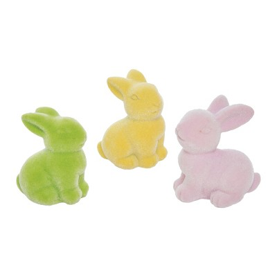 Gallerie II Pastel Green Yellow Pink Flocked Easter Bunny Figurines Set of 3