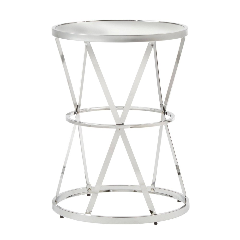 Estella Mirrored Top Round Entryway Side Table Chrome (Grey) - Inspire Q