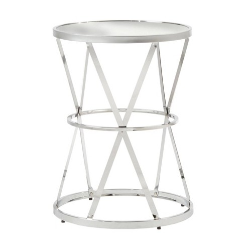 Estella Mirrored Top Round Entryway Side Table Chrome Inspire Q