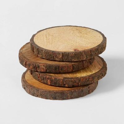4pk Live Edge Wood Coasters Brown - Threshold™
