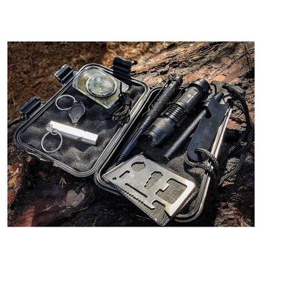 Outdoor Survival Gear Tool Kit for Camping, Hiking, Climbing With LED Flashlight Compress, Whistle Tactical Pen, Ruler, Fire Starter