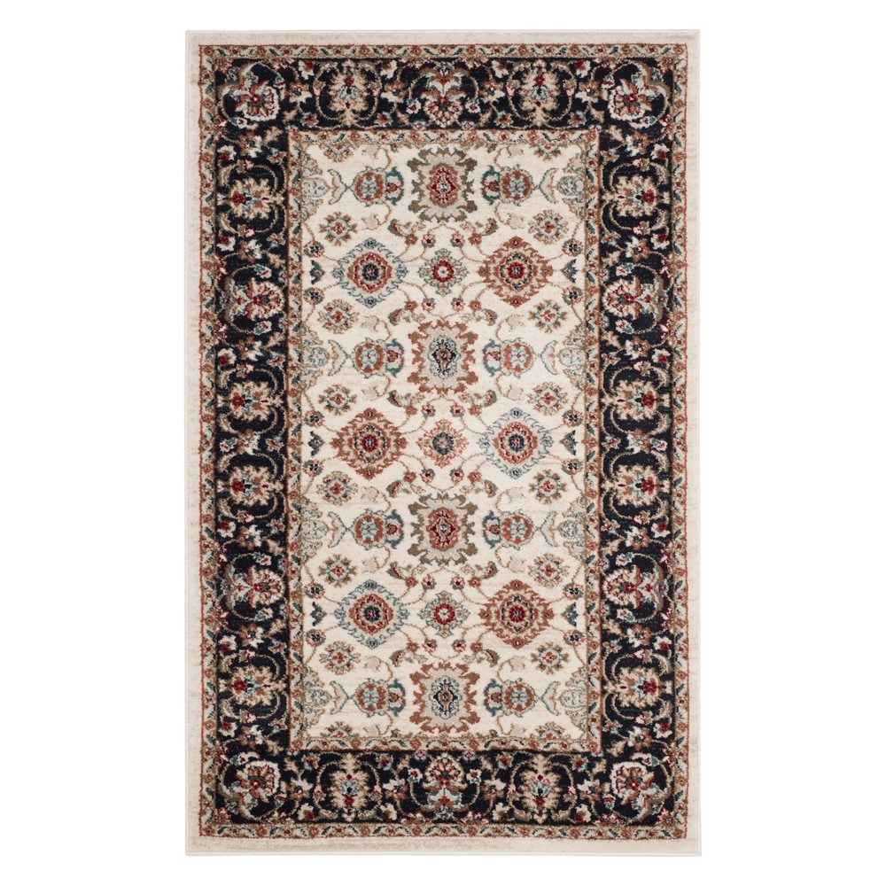 3 3 X5 3 Floral Loomed Accent Rug Cream Navy Safavieh