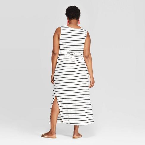 Women\'s Plus Size Striped Sleeveless Scoop Neck Knit Maxi Dress ...