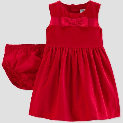 Baby Girls' Bow Holiday Dressy Dress - Just One You® made by carter's Red 3M
