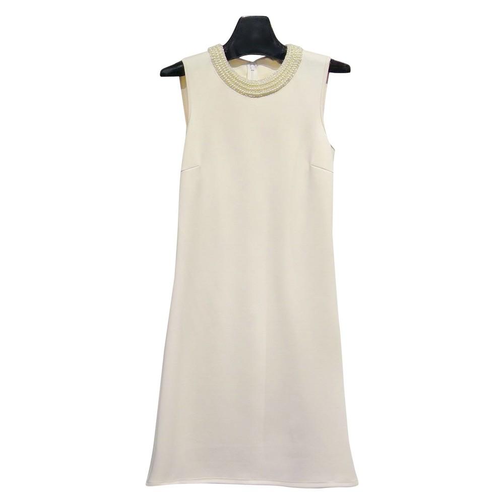 Women's Sleeveless Shift Dresses Seed Pearl (White) 10 - Spenser Jeremy