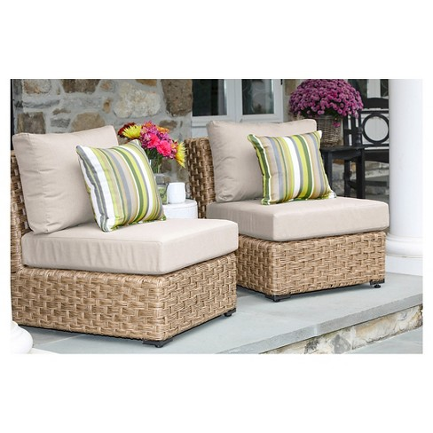 Elizabeth Pair of Armless Chairs with Sunbrella Fabric Cast - Ash - image 1 of 2