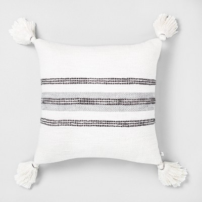 "18"" x 18"" Center Slub Stripe Throw Pillow Gray / Sour Cream - Hearth & Hand™ with Magnolia"