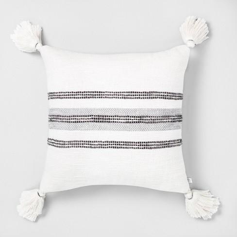 18 x 18 center slub stripe throw pillow gray sour cream hearth hand with magnolia