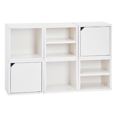 Way Basics 6 Cubby Connect Cube System Modular Storage Bookcase   Natural  White   Lifetime Guarantee