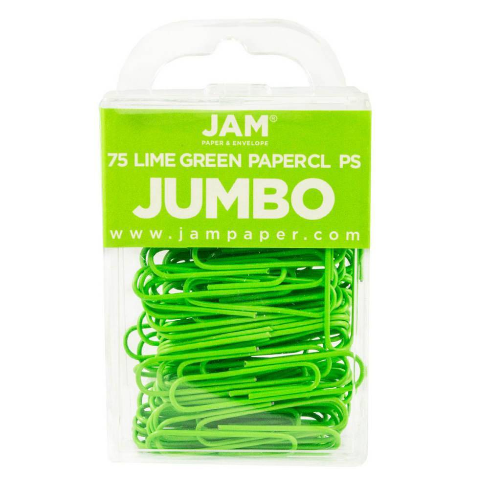 Jam Paper 2 75pk Colorful Jumbo Paper Clips Large Lime