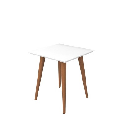 19.68  Utopia High Square End Table with Splayed Wooden Legs Gloss White - Manhattan Comfort