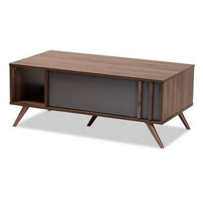 1 Drawer Naoki Two-Tone Wood Coffee Table Gray/Walnut - Baxton Studio