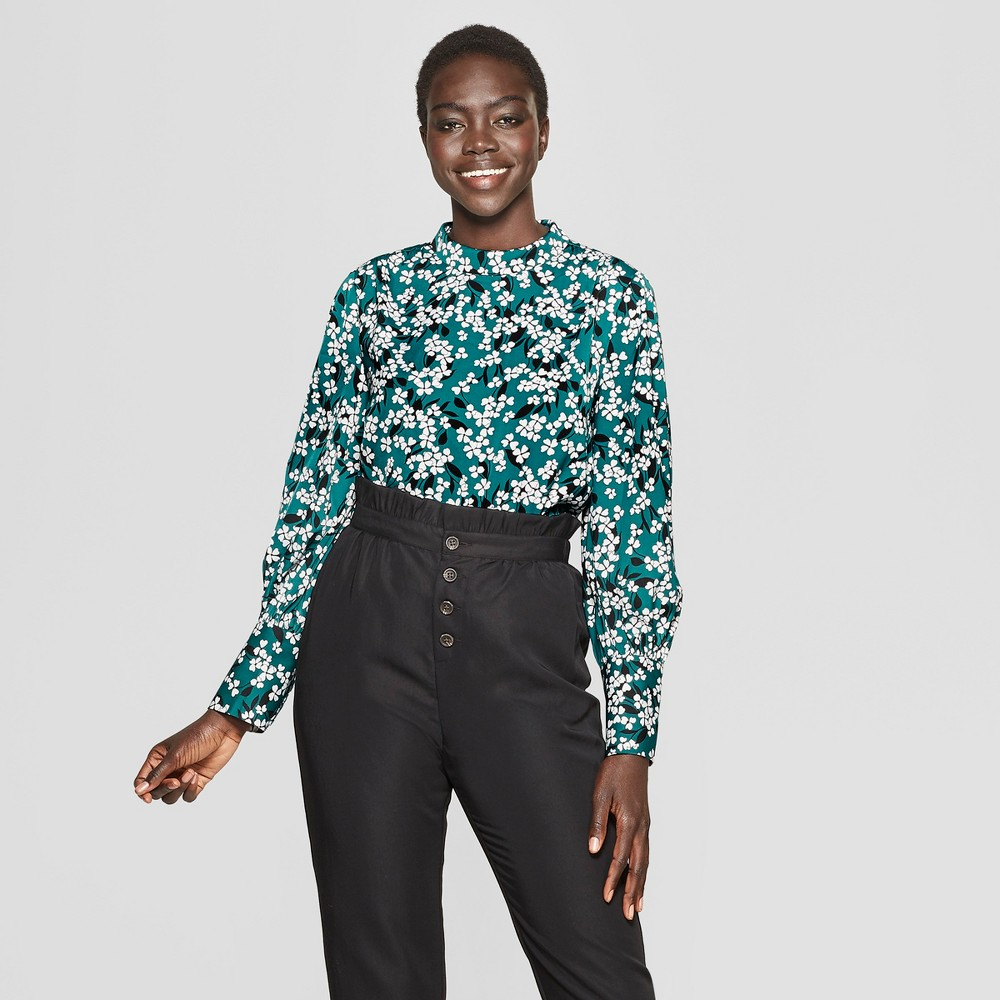 Women's Floral Print Long Sleeve Relaxed Silky Blouse - Who What Wear Teal/White L, Blue/White Floral