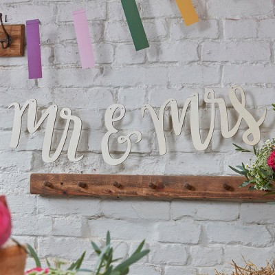 """Mr. And Mrs"" Boho Wooden Bunting"
