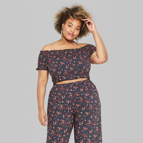 76111443c8e4c Women s Plus Size Floral Print Cropped Short Sleeve Off the Shoulder  Smocked Top - Wild Fable™ Black