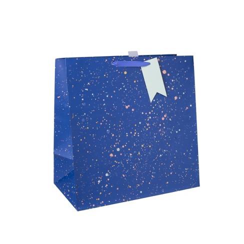Large Square Foil Splattered Bag With Tag Blue - Spritz™ - image 1 of 1