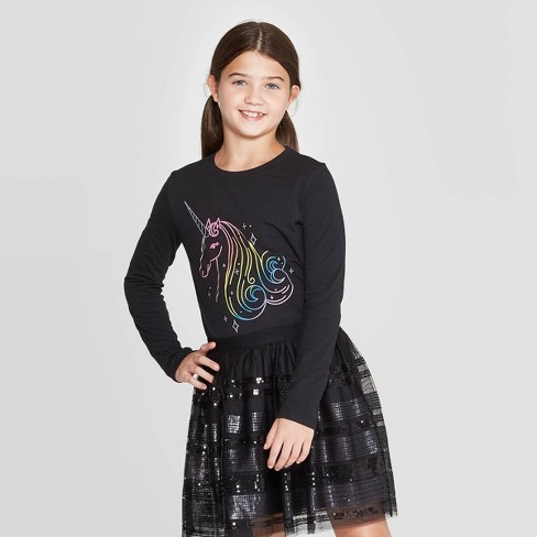 Girls' Long Sleeve Rainbow Unicorn Graphic T-Shirt - Cat & Jack™ Black - image 1 of 3