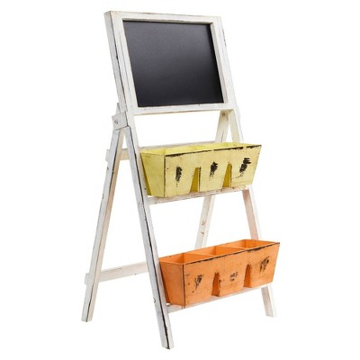 "31"" x 15.5"" Farmhouse Multipurpose Bin and Chalkboard Stand - Nearly Natural"
