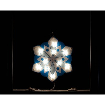 "Impact Innovations 14"" Lighted White and Blue Holographic Snowflake Christmas Window Silhouette Decoration"