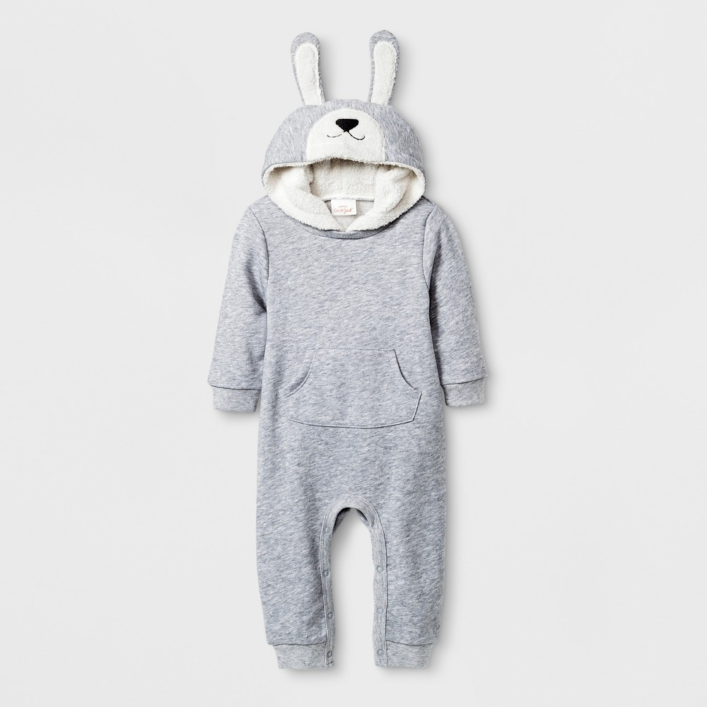 Baby Hooded Romper with Kangaroo Pocket - Cat & Jack Gray 12M, Infant Unisex