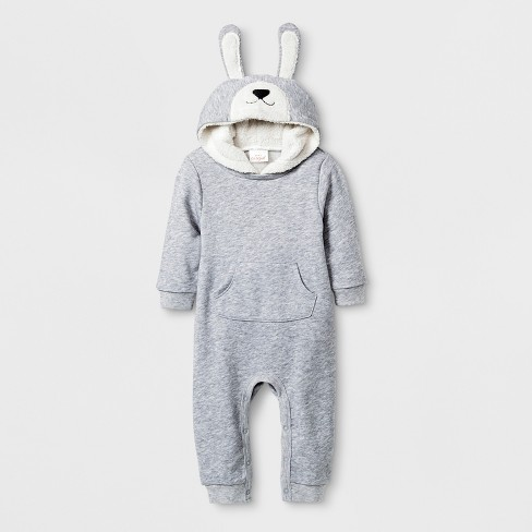 Baby Boys' Hooded Romper with Kangaroo Pocket - Cat & Jack™ Gray - image 1 of 1