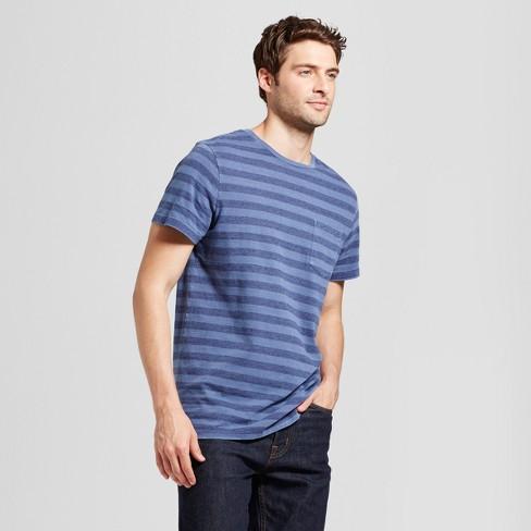 Men's Standard Fit Short Sleeve Garment-Dyed Crew T-Shirt - Goodfellow & Co™ Slate Blue - image 1 of 3
