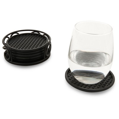 Spectrum Scroll Steel Coaster Container Set of 6 - Black