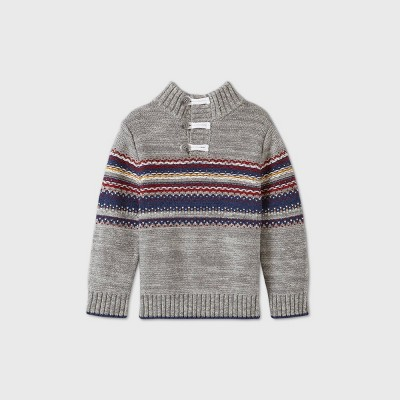 Toddler Boys' Handstitched Toggle Button Pullover Sweater - Cat & Jack™ Gray 2T