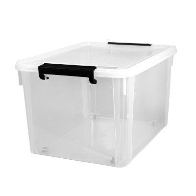 Home Logic 58qt Latching Storage Box with Wheels Clear