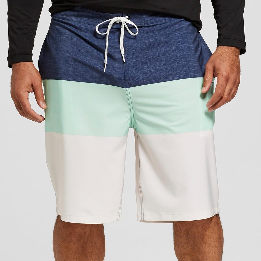 Men's Big & Tall Striped 10 Trooper Board Shorts - Goodfellow & Co Mint Green 56