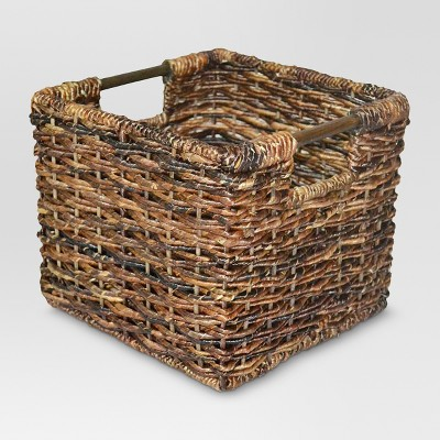 "8""x10"" Wicker Small Milk Crate Dark Brown - Threshold™"