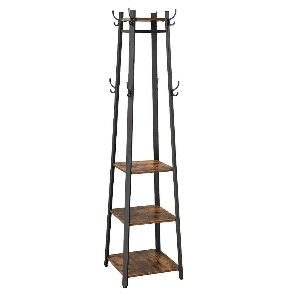 Image of Metal Framed Ladder Style Coat Rack with Three Wooden Shelves Brown and Black - Benzara, Black Brown