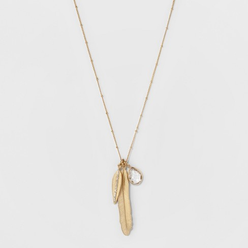 Cluster Long Necklace - A New Day™ Gold - image 1 of 3