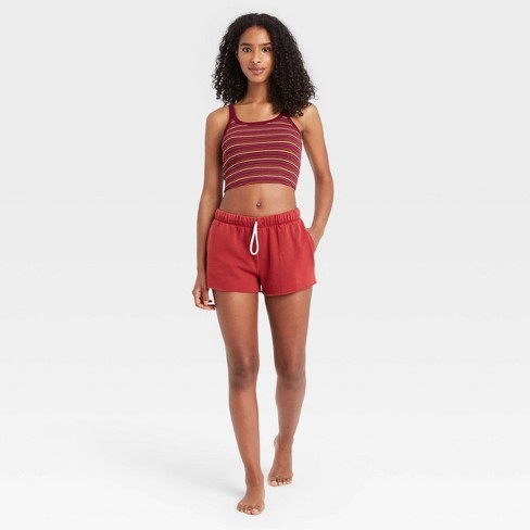 Women's Striped Scoop Neck Lounge Cropped Cami Tank Top - Colsie™ Red - image 1 of 3