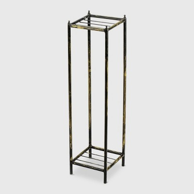 2-Tier Square Iron Plant Stand Black/Gold - Ore International