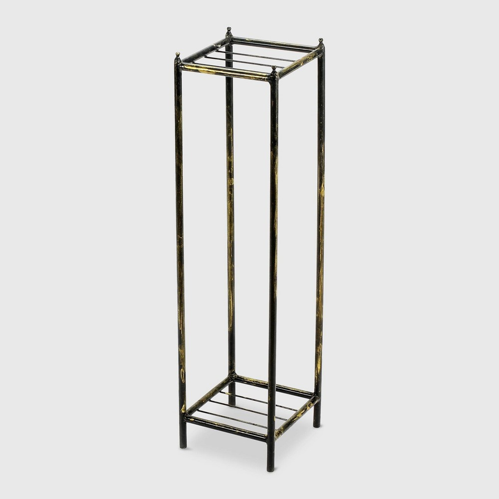 Image of 2 Tier Square Iron Plant Stand Black - Ore International