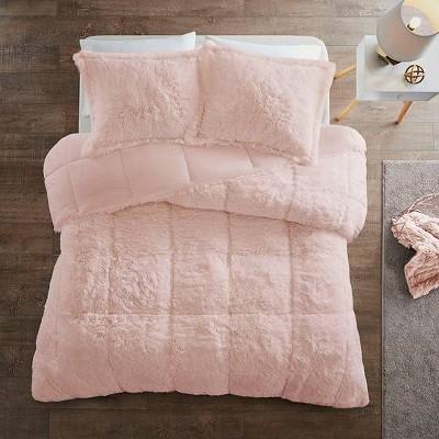 King/California King Leena Shaggy Faux Fur Comforter Set - Blush