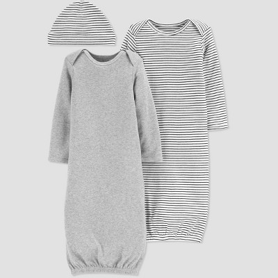 Baby Girls' 2pk Gown and Hat - Just One You® made by carter's Gray