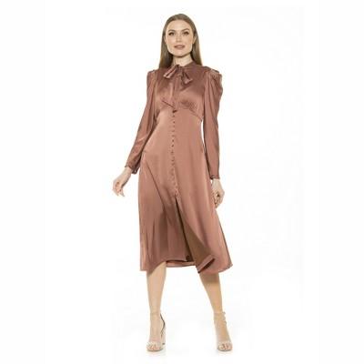Alexia Admor Vicki Bow Tie Puff Slv Button Down Dress