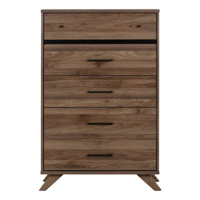 Flam 5 Drawer Chest Natural Walnut/Matte Black - South Shore