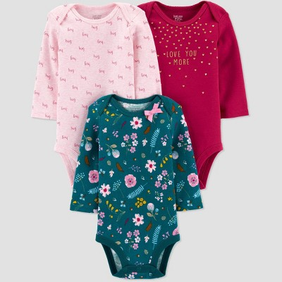 Baby Girls' 3pk Long Sleeve Floral Bodysuits - Just One You® made by carter's Green 3M