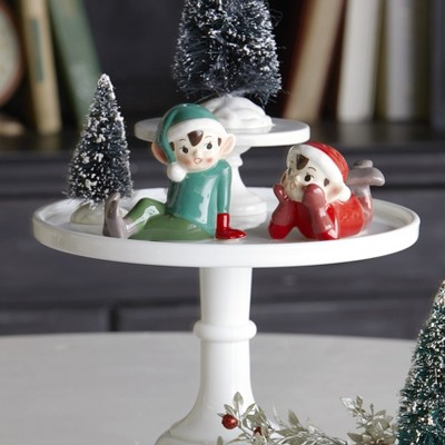 Lakeside Ceramic Elf Salt & Pepper Shakers Set - Holiday Tabletop Accent - Set of 2