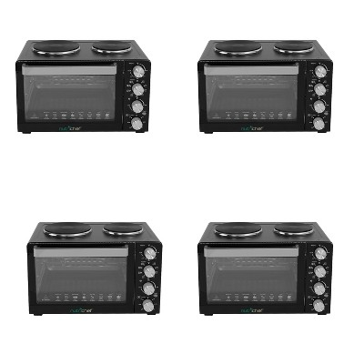 NutriChef Kitchen Countertop Multi-function Convection Rotisserie Toaster Oven Cooker w/ 2 Food Warming Hot Plates, Grill Rack, & Baking Tray (4 Pack)
