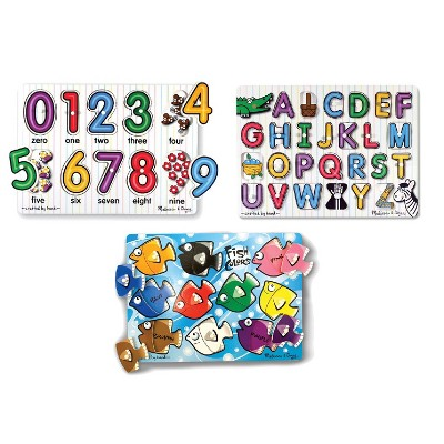 Melissa & Doug® Fish Colors, ABC, and Numbers Wooden Mix 'n Match Peg Puzzle Bundle