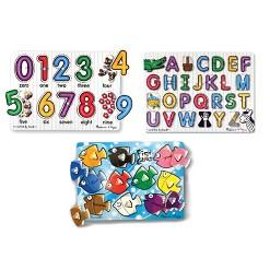 Melissa & Doug Fish Colors, ABC, and Numbers Wooden Mix 'n Match Peg Puzzle Bundle