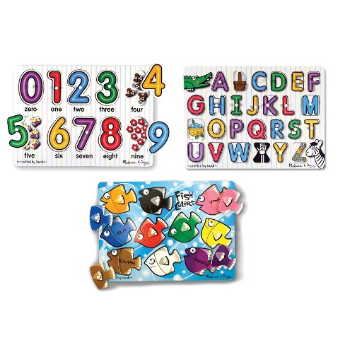 Melissa & Doug Fish Colors, ABC, and Numbers Wooden Mix 'n Match Peg Puzzle Bundle - image 1 of 4