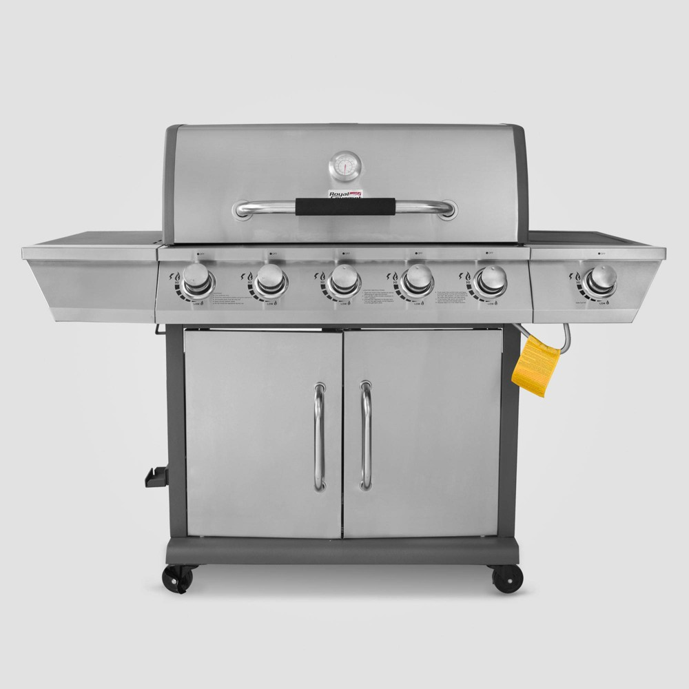 Image of Stainless Steel 5 Burner Propane Gas Grill with Side Burner GG5302S Silver - Royal Gourmet