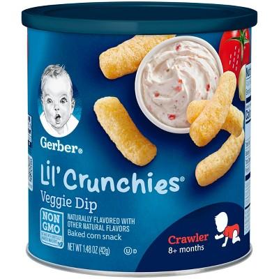 Gerber Lil' Crunchies Baked Whole Grain Corn Snack, Veggie Dip - 1.48oz